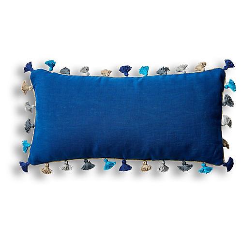 Mini Tassel 10x20 Lumbar Pillow, Indigo Linen