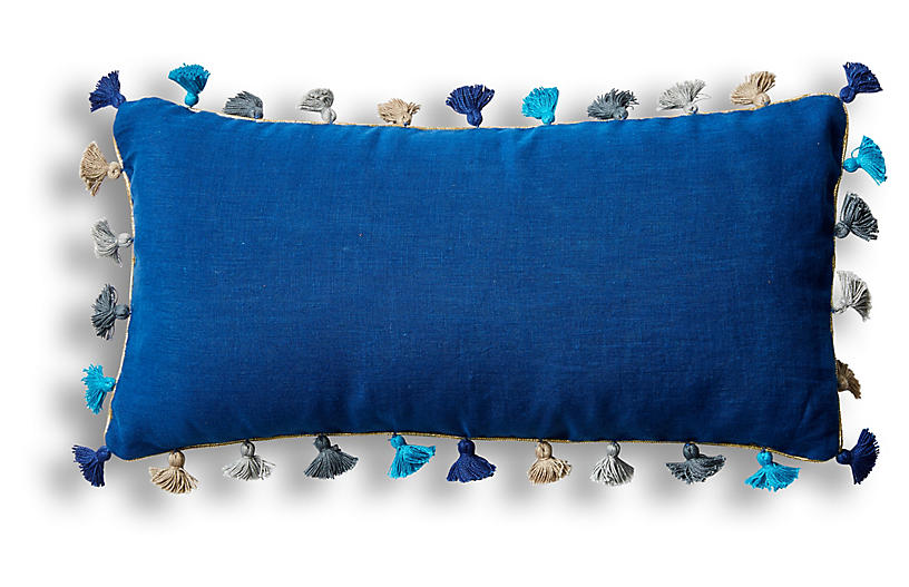 Mini Tassel 10x20 Lumbar Pillow, Indigo Linen