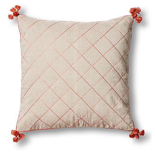 Tassel Quilted 20x20 Pillow, Terracotta Linen