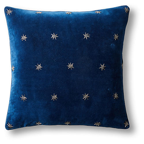 Embroidered Star 20x20 Pillow, Navy Velvet
