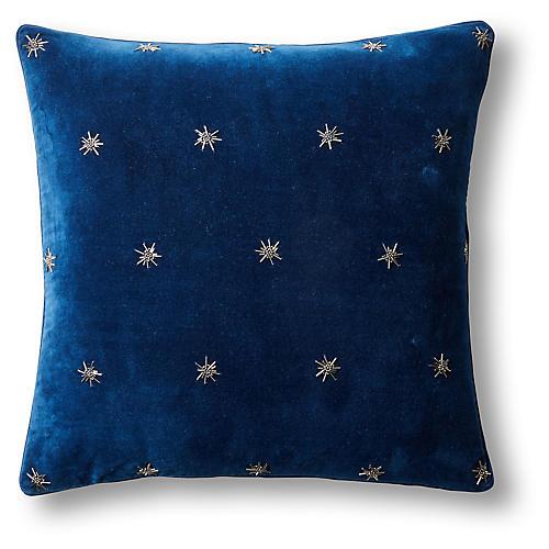 Embroidered Star 20x20 Pillow, Navy Velvet