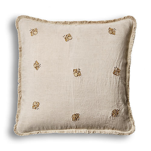 Emb Bee Fringe 20x20 Pillow, Natural Linen