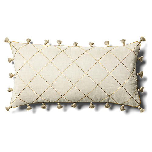 Quilted 10x20 Lumbar Pillow, Tan Linen