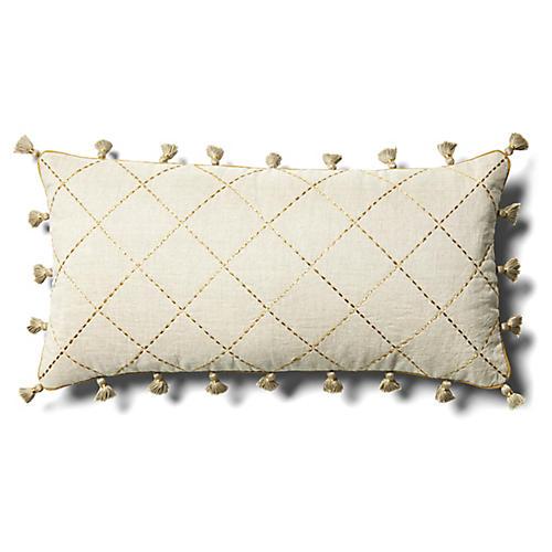 Quilted 10x20 Lumbar Pillow, Tan Linen