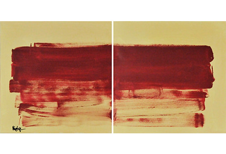 Robbie Kemper, Red on Yellow Diptych