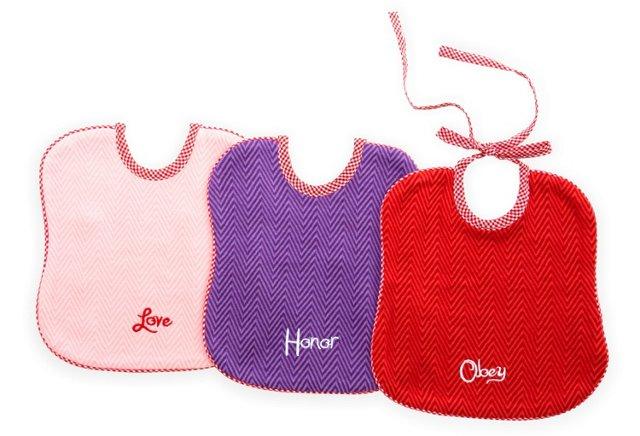 Set of 3 Assorted Bibs, Pink/Purple/Red