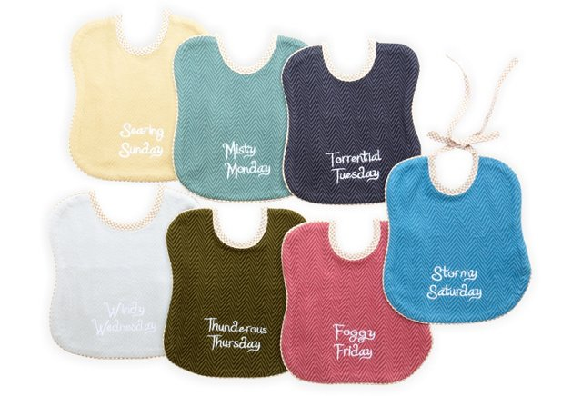Set of 7 Day-of-the-Week Bibs, Cornwall