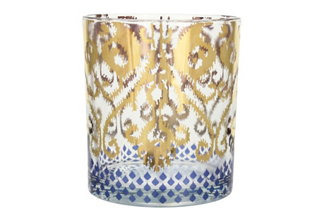 S/4 Golden Ikat Cocktail Glasses