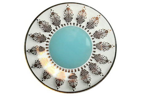 S/4 Aquarius Canapé Plates, Blue/Gold