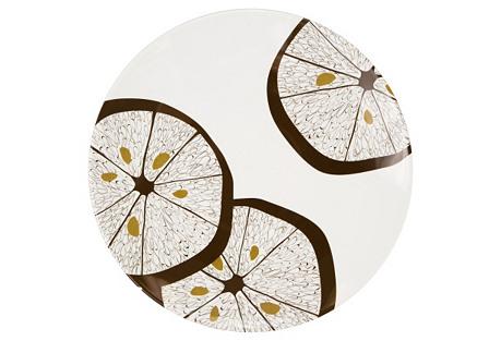 S/4 Melamine Dinner Plates, Lemonwood