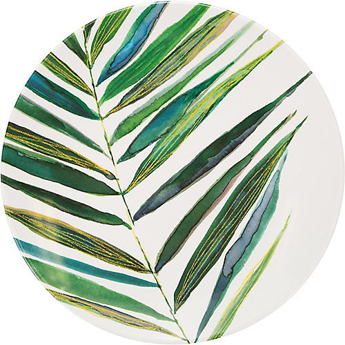 Palm Dinner Plate, Green/White