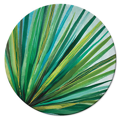 Palm Dessert Plate, Green/White