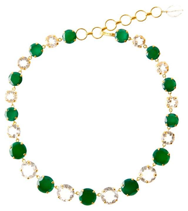 Green Onyx & Clear Quartz Necklace