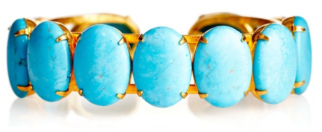 Oval Turquoise Stone Cuff