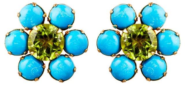 Turquoise & Peridot Post Earrings