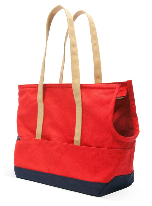 Canvas Pet Tote, Red/Navy