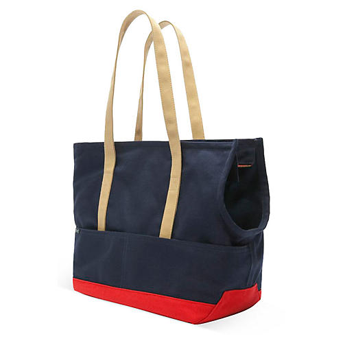 Canvas Pet Tote, Navy/Red