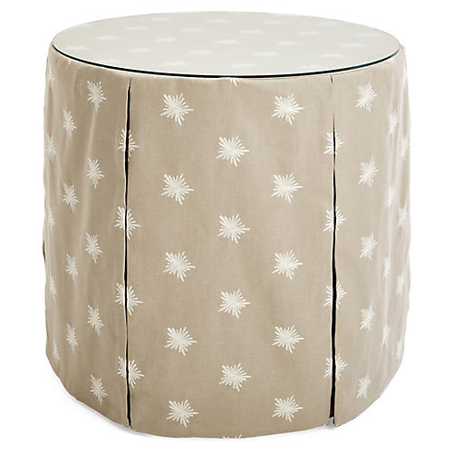 Eden Round Skirted Table, Khaki/Ivory