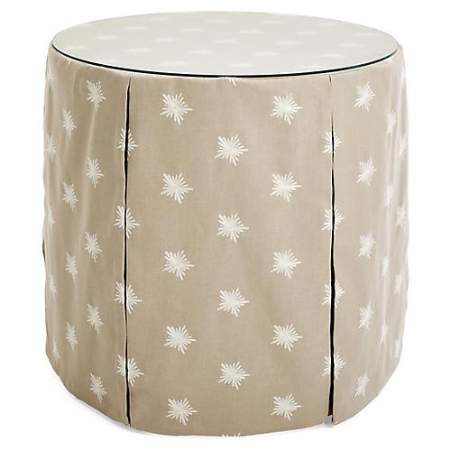 Eden Round Skirted Table, Khaki/Ivory