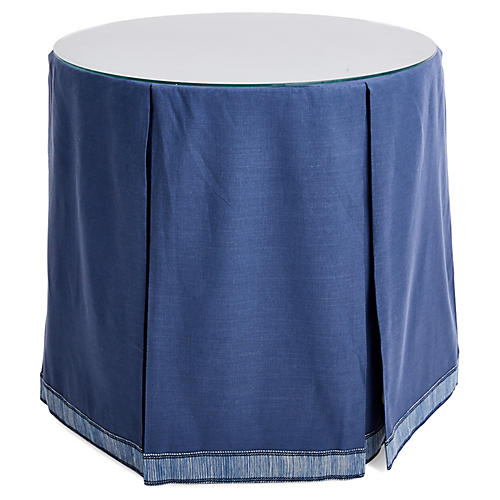 Eden Round Skirted Table, Indigo