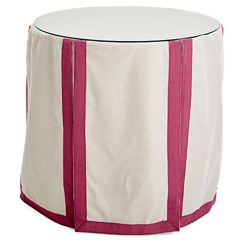 Eden Round Skirted Table, Oatmeal/Mauve