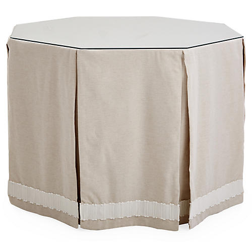Eden Octagonal Skirted Table, Oat/White