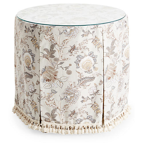 Eden Round Skirted Table, Birch Floral