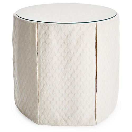 Eden Round Skirted Table, Ivory Chenille
