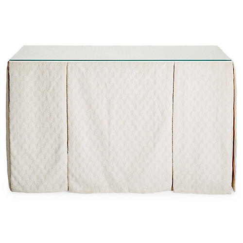 Eden Skirted Console, Ivory Chenille