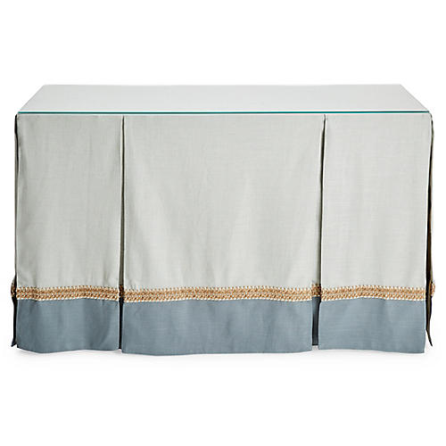 Eden Skirted Console, Teal/Mist