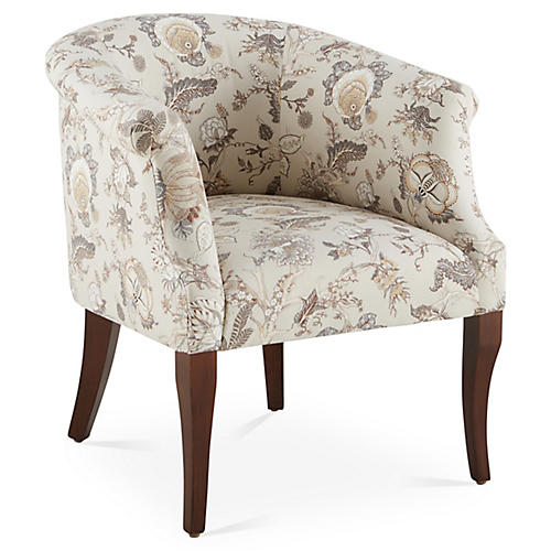 Selby Club Chair, Birch Floral