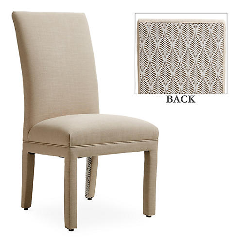 Monroe Side Chair, Flax/Gray Fronds