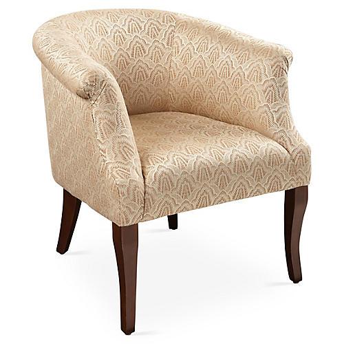 Selby Club Chair, Copper Deco Scallop