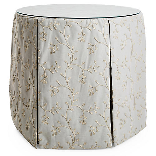 Eden Round Skirted Table, Snowdrop