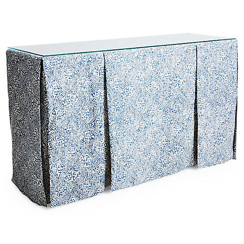 Eden Skirted Console, Blue Crown