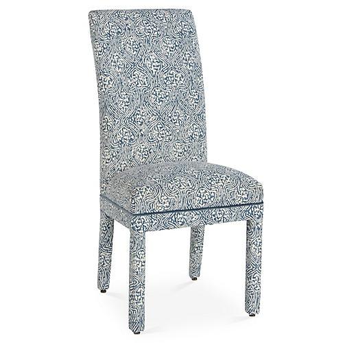 Monroe Side Chair, Blue/White