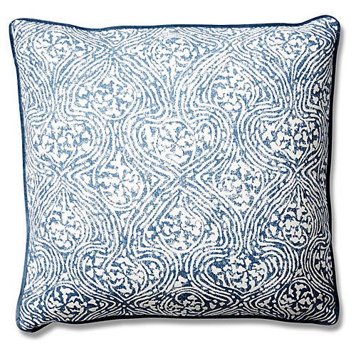 Vera 19x19 Cotton Pillow, Blue Crown
