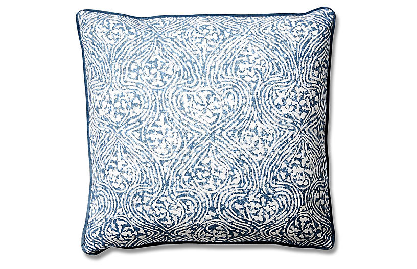 Vera 19x19 Cotton Pillow, Blue Crown