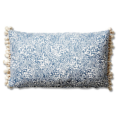 Meri 12x20 Tassel Lumbar Pillow, Blue Crown