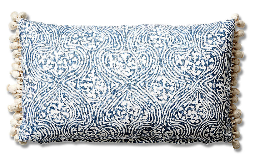 Meri 12x20 Tassel Lumbar Pillow - Blue Crown