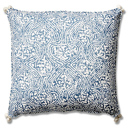 Vera 19x19 Tassel Pillow, Blue Crown
