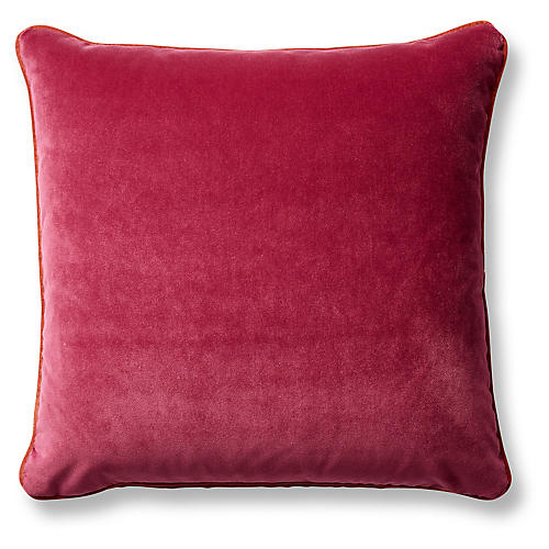 Eliza 20x20 Pillow, Berry/Tangelo Velvet