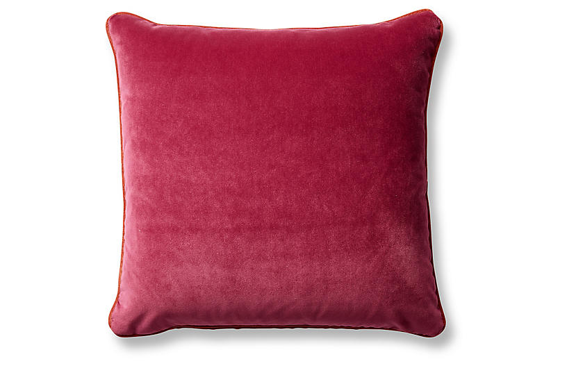 Eliza 20x20 Pillow, Berry/Tangelo Velvet