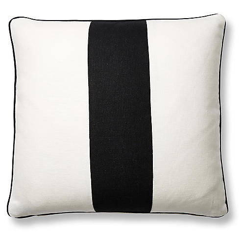 Blakely 20x20 Pillow, White/Black Linen