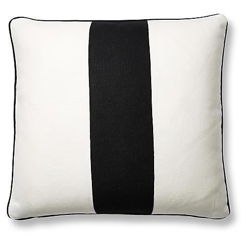 Blakely 20x20 Pillow, White/Black Linen