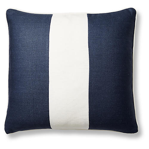 Blakely 20x20 Pillow, Navy/White Linen