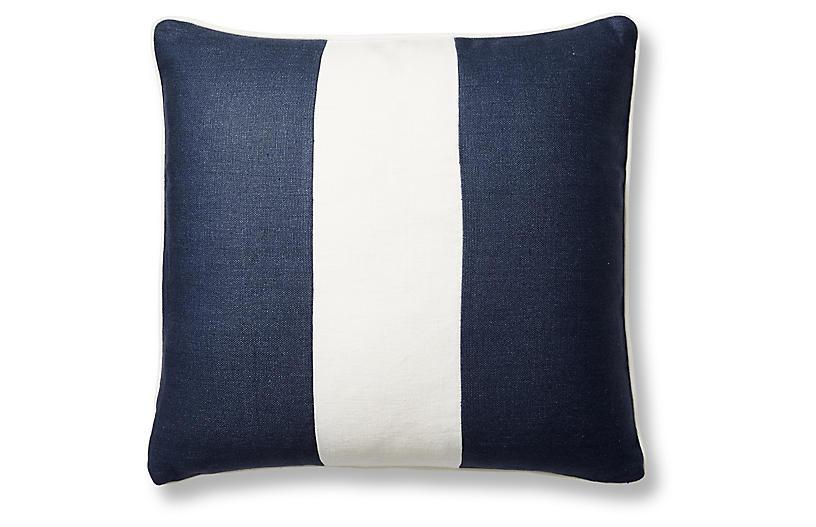 Blakely 20x20 Pillow, Navy/White Linen