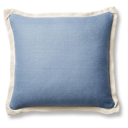 Gina 20x20 Pillow, Chambray/Sand Linen