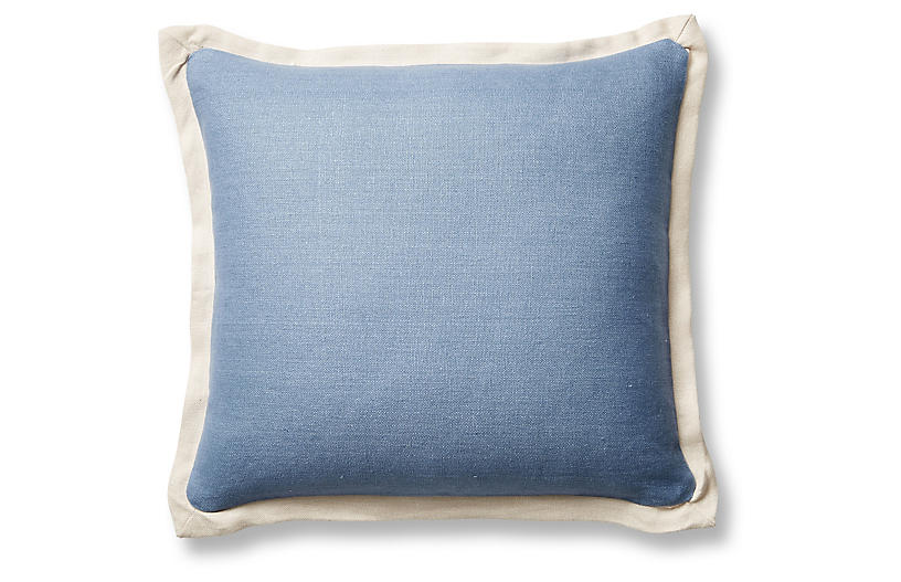 Gina 20x20 Pillow, Chambray/Sand Linen