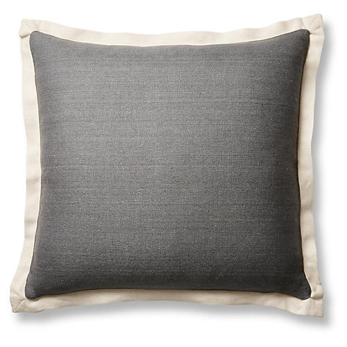Gina 20x20 Pillow, Graphite/Sand Linen